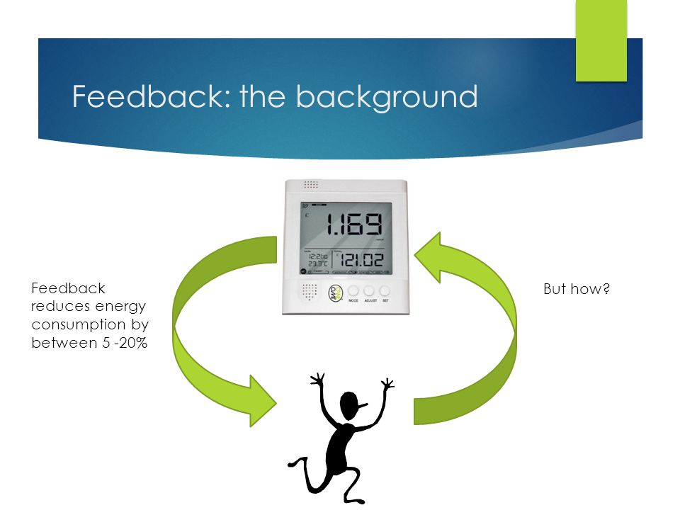 Feedback: the background Feedback reduces energy consumption by between 5 -20% But how?