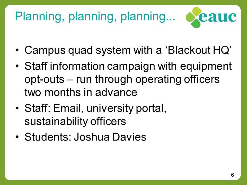 6 Planning, planning, planning...