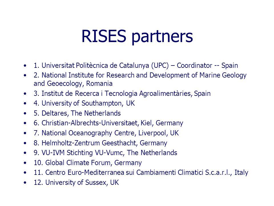 RISES partners 1. Universitat Politècnica de Catalunya (UPC) – Coordinator -- Spain 2.