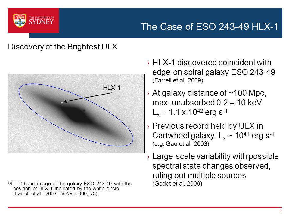 The Case of ESO 243-49 HLX-1 14 Broad-band Spectral Energy Distribution Fitting ›X-ray & UV bands described by irradiated disc model ›Red optical & H-band data not consistent  need stellar population ›Disc temp consistent with ~10,000 M  black hole ›FUV luminosity of 7 x 10 39 erg s -1 inconsistent with beamed emission from stellar mass black hole Farrell et al.