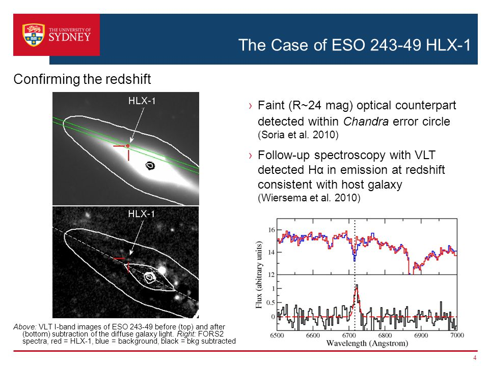 The Case of ESO 243-49 HLX-1 ›Faint (R~24 mag) optical counterpart detected within Chandra error circle (Soria et al.
