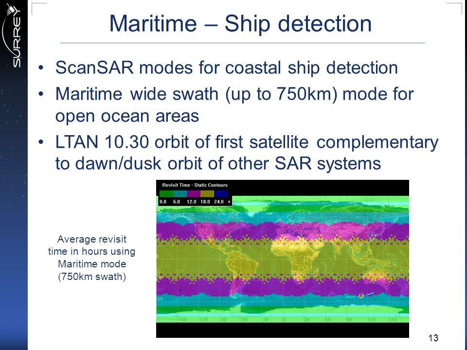 Maritime – Ship detection ScanSAR modes for coastal ship detection Maritime wide swath (up to 750km) mode for open ocean areas LTAN 10.30 orbit of fir