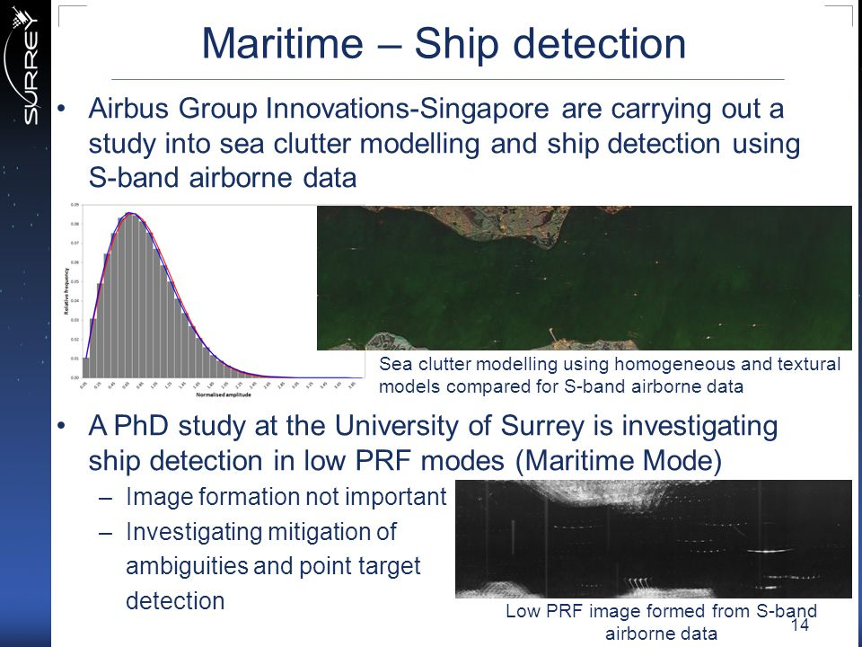 Maritime – Ship detection Airbus Group Innovations-Singapore are carrying out a study into sea clutter modelling and ship detection using S-band airbo