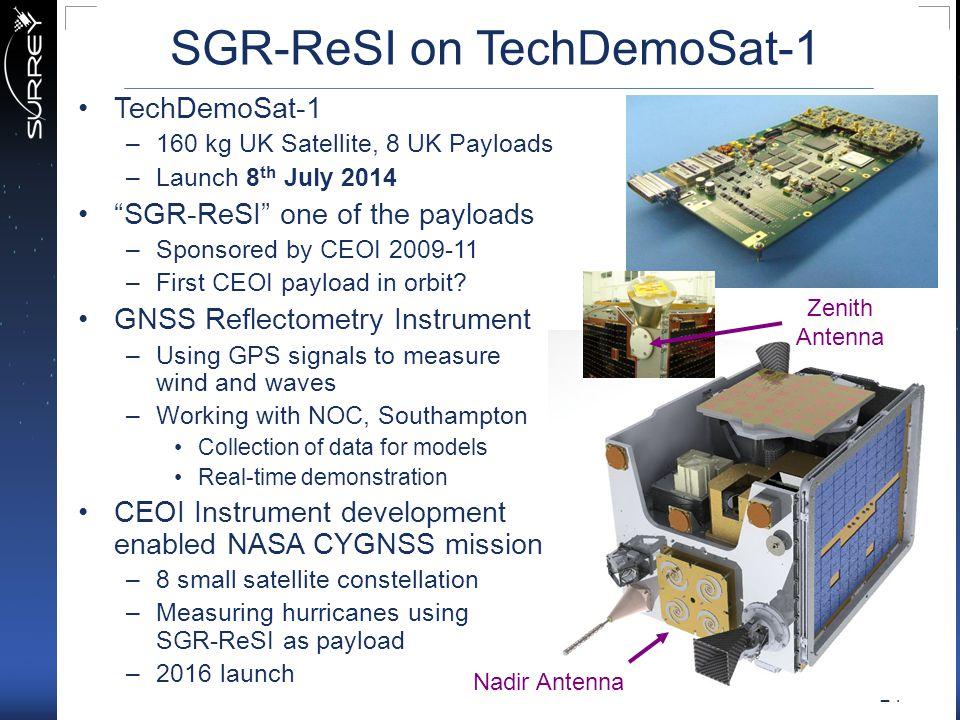 "24 SGR-ReSI on TechDemoSat-1 Nadir Antenna TechDemoSat-1 –160 kg UK Satellite, 8 UK Payloads –Launch 8 th July 2014 ""SGR-ReSI"" one of the payloads –Sp"