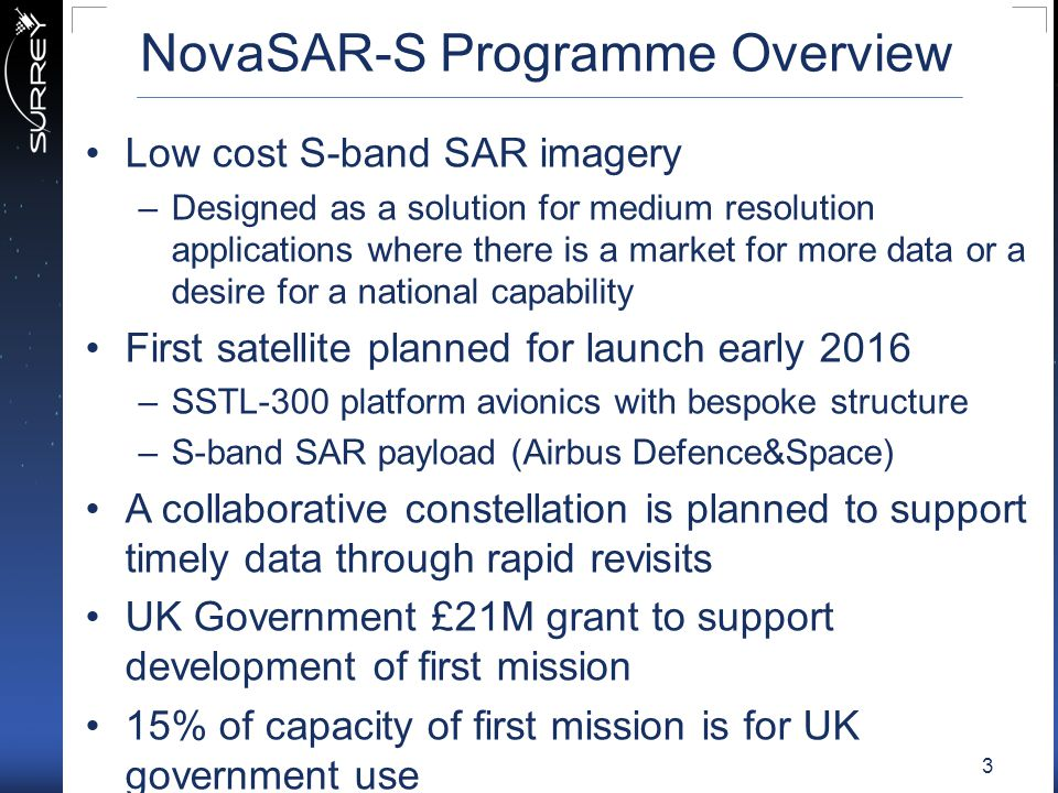 NovaSAR-S Programme Overview Low cost S-band SAR imagery –Designed as a solution for medium resolution applications where there is a market for more d
