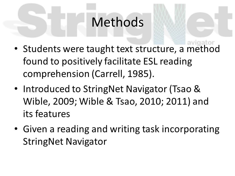 Methods Students were taught text structure, a method found to positively facilitate ESL reading comprehension (Carrell, 1985). Introduced to StringNe
