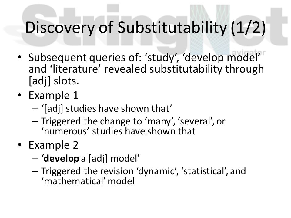 Discovery of Substitutability (1/2) Subsequent queries of: 'study', 'develop model' and 'literature' revealed substitutability through [adj] slots. Ex