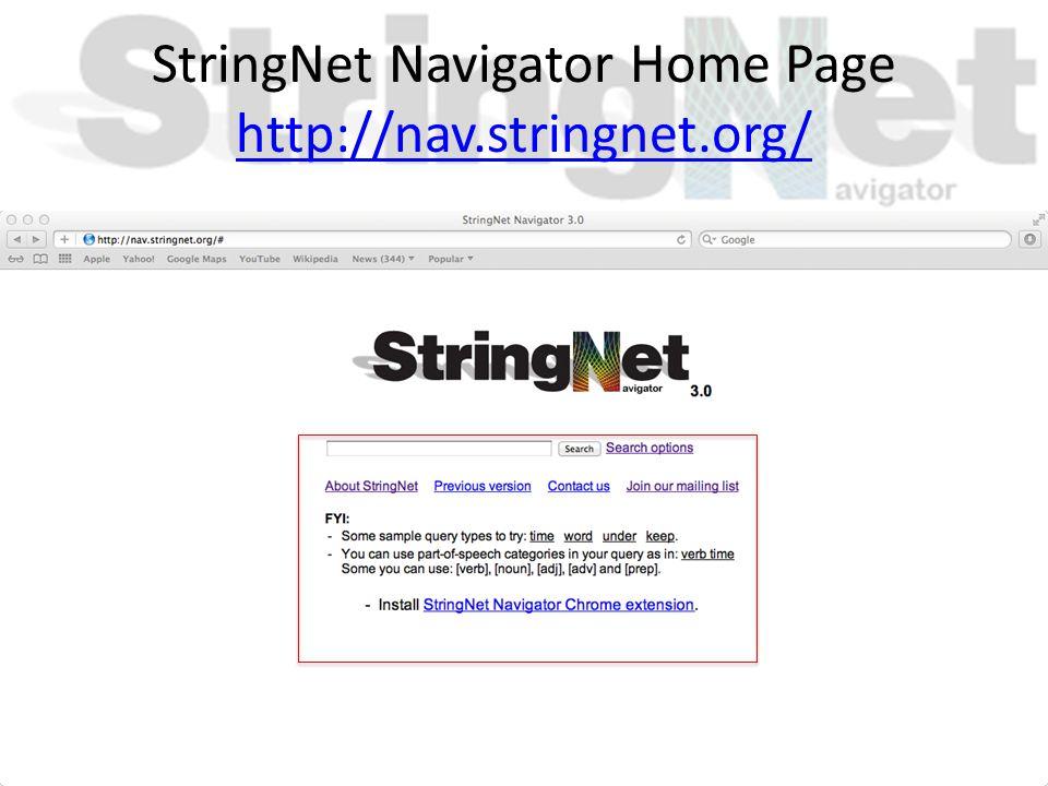 StringNet Navigator Home Page http://nav.stringnet.org/ http://nav.stringnet.org/