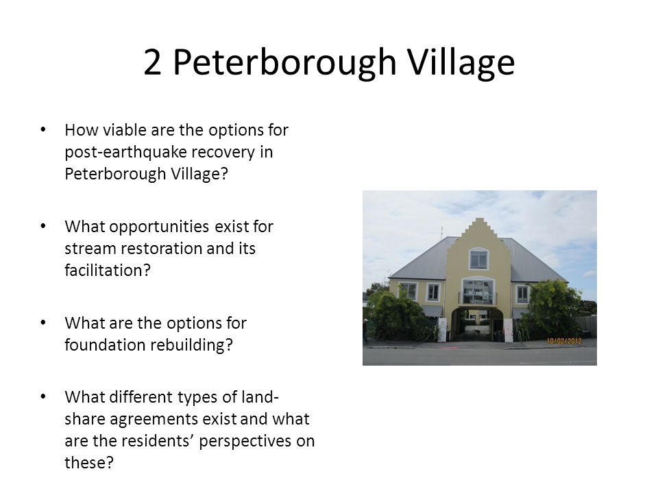 2 Peterborough Village How viable are the options for post-earthquake recovery in Peterborough Village.