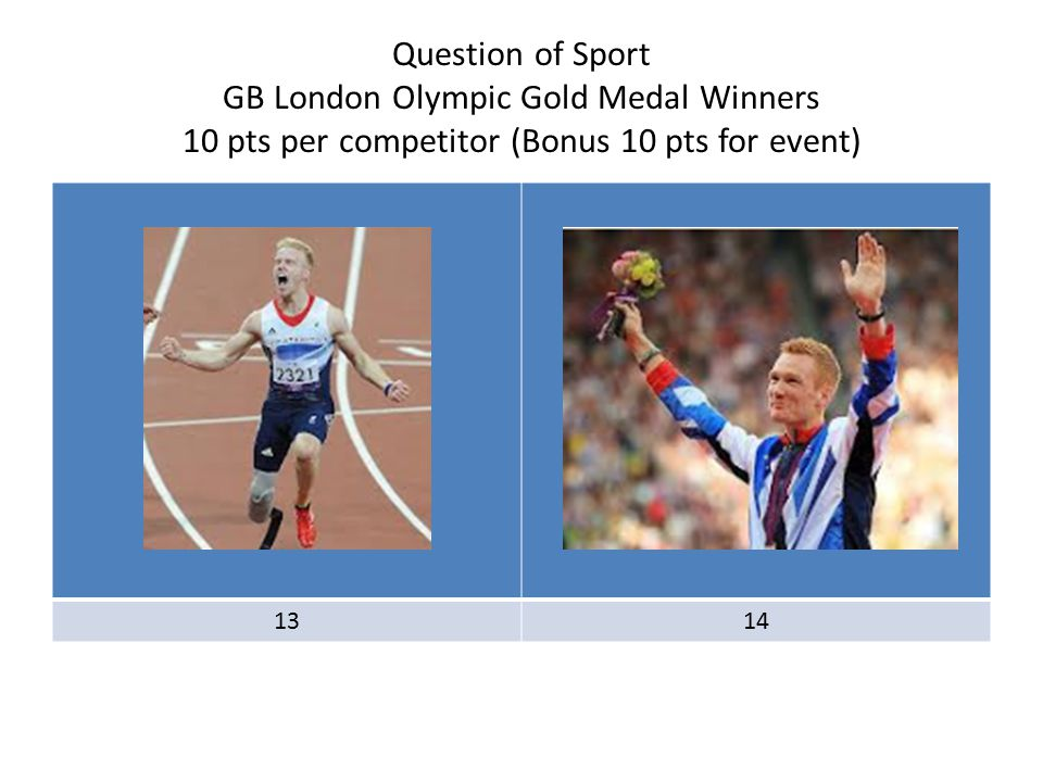 Question of Sport GB London Olympic Gold Medal Winners 10 pts per competitor (Bonus 10 pts for event) 1314