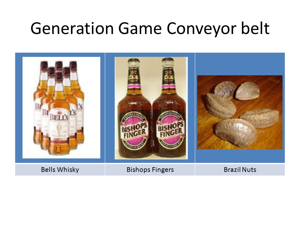 Generation Game Conveyor belt Bells WhiskyBishops FingersBrazil Nuts
