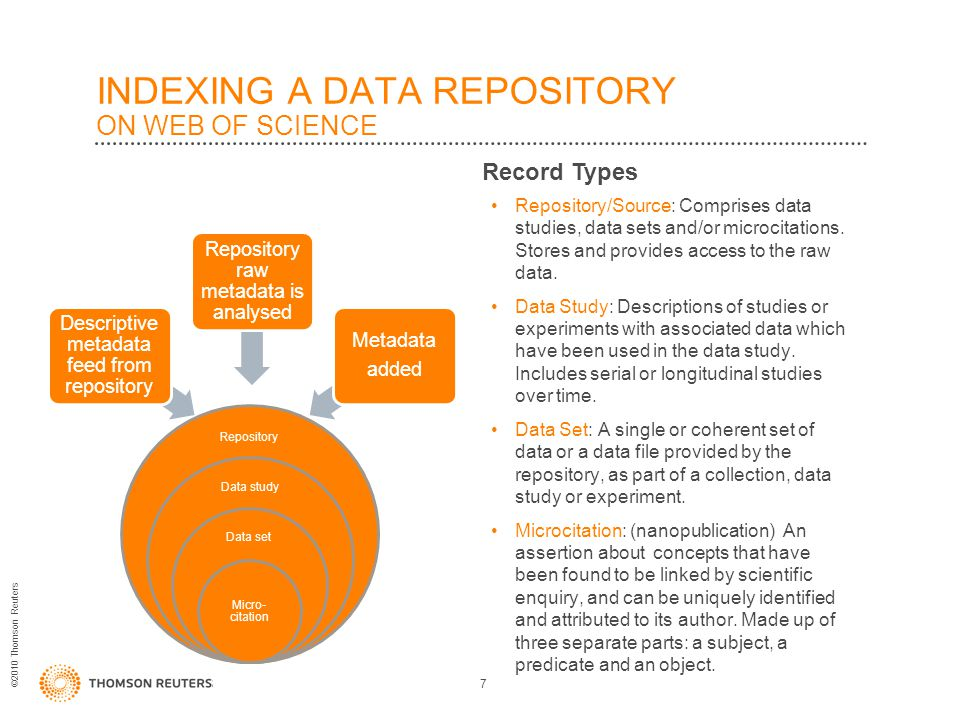 ©2010 Thomson Reuters INDEXING A DATA REPOSITORY ON WEB OF SCIENCE Repository/Source: Comprises data studies, data sets and/or microcitations.