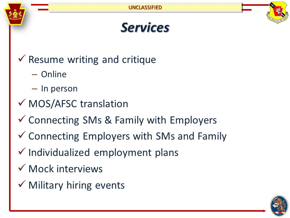 UNCLASSIFIEDUNCLASSIFIED All Military Job Fairs & Events