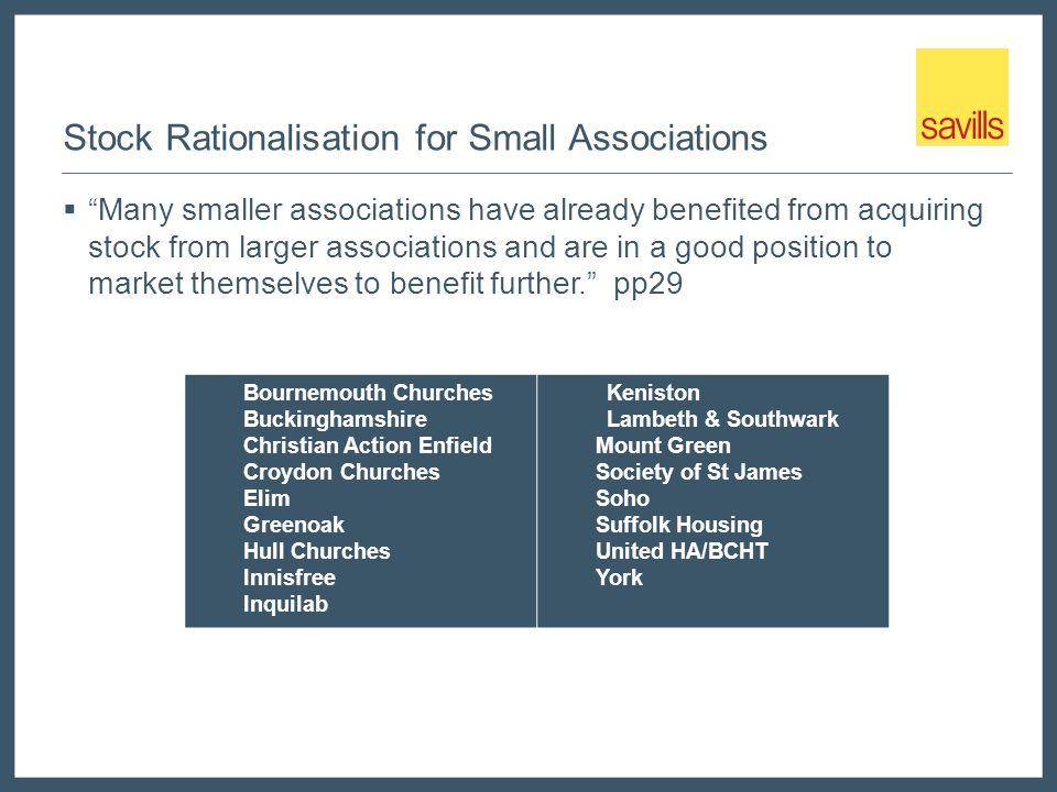 "Stock Rationalisation for Small Associations  ""Many smaller associations have already benefited from acquiring stock from larger associations and are"