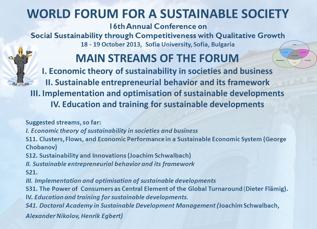 WORLD FORUM FOR A SUSTAINABLE SOCIETY 16th Annual Conference on Social Sustainability through Competitiveness with Qualitative Growth 18 - 19 October 2013, Sofia University, Sofia, Bulgaria MAIN STREAMS OF THE FORUM I.