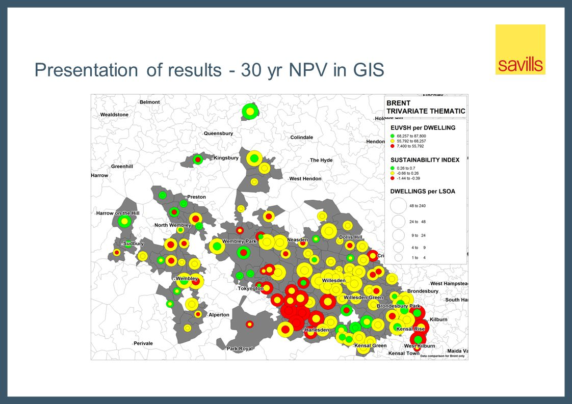 Presentation of results - 30 yr NPV in GIS