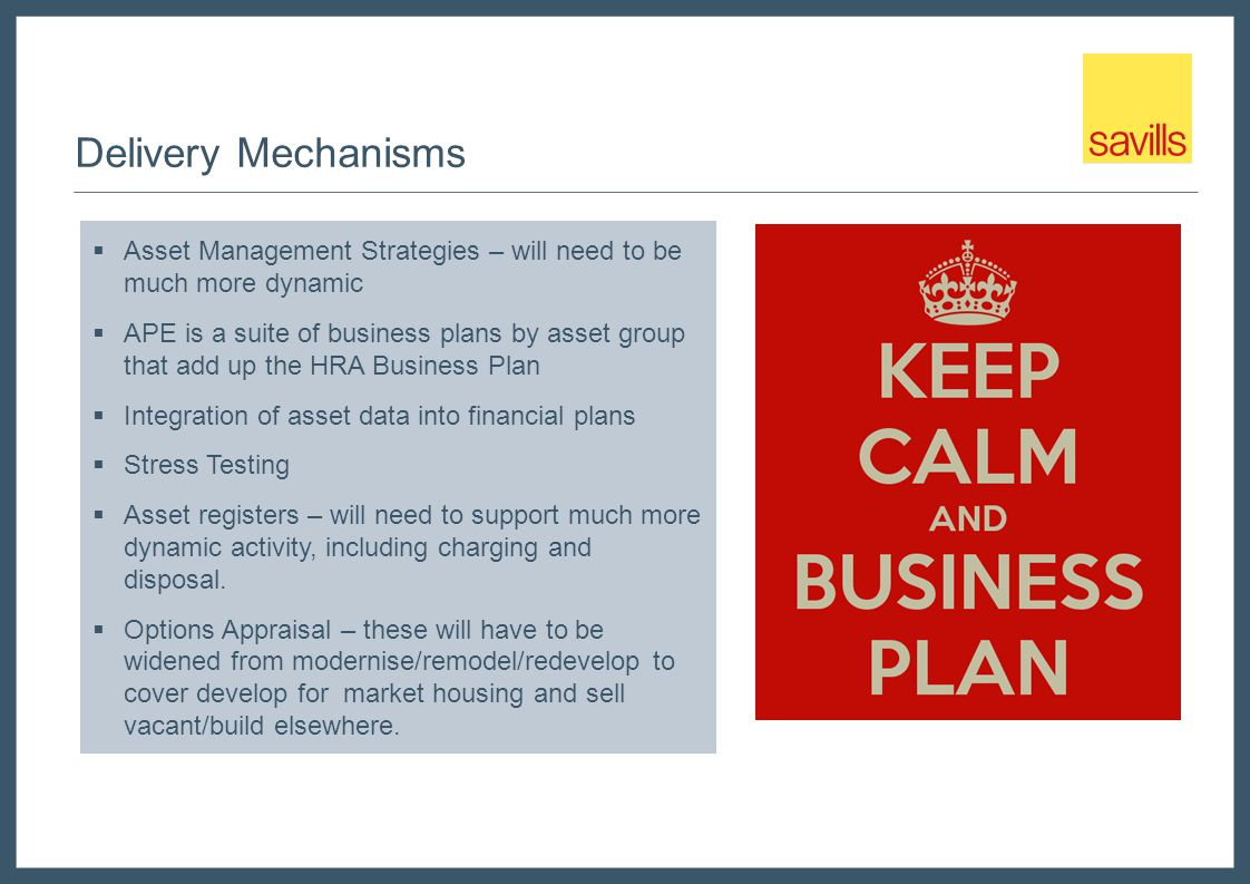 Delivery Mechanisms  Asset Management Strategies – will need to be much more dynamic  APE is a suite of business plans by asset group that add up the HRA Business Plan  Integration of asset data into financial plans  Stress Testing  Asset registers – will need to support much more dynamic activity, including charging and disposal.