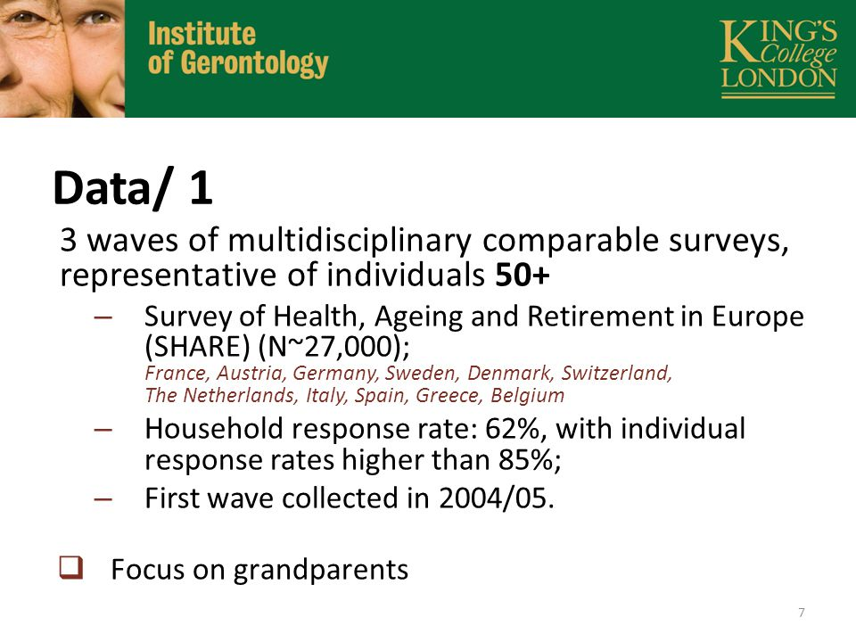 Data /2 Waves 1, 2 provide information on grandparents, including demographic and socio-economic characteristics, health, and household characteristics.