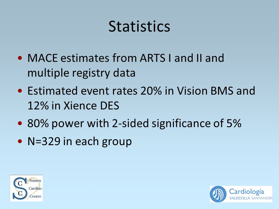 Statistics MACE estimates from ARTS I and II and multiple registry data Estimated event rates 20% in Vision BMS and 12% in Xience DES 80% power with 2