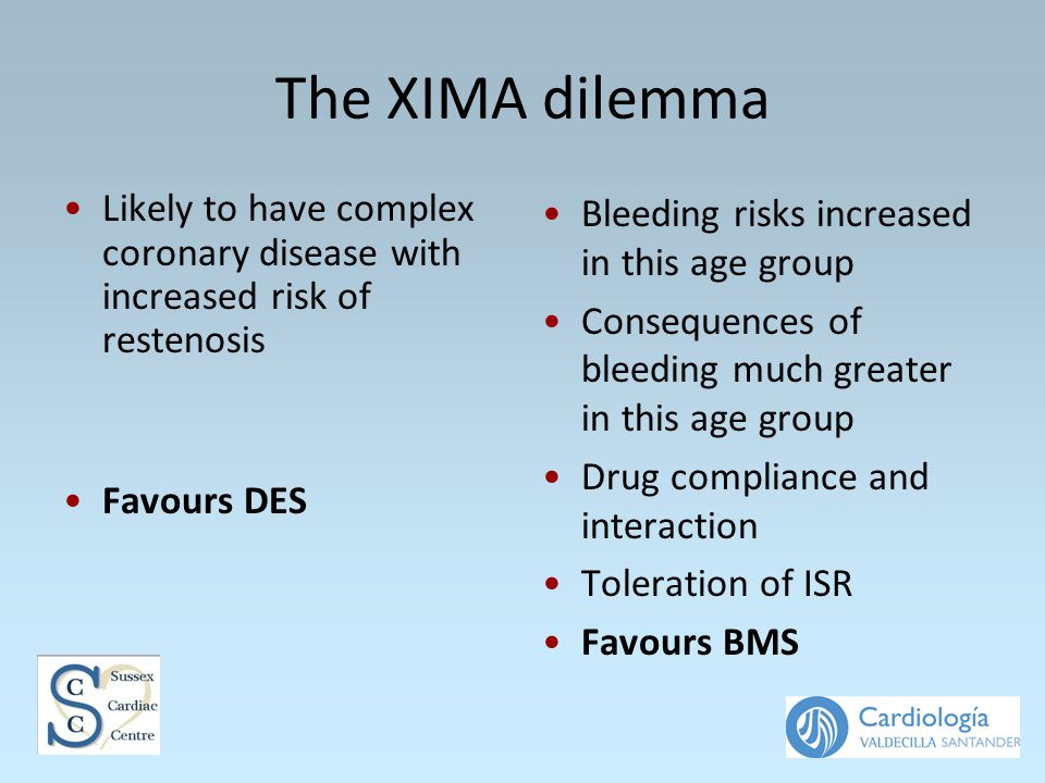 The XIMA dilemma Likely to have complex coronary disease with increased risk of restenosis Favours DES Bleeding risks increased in this age group Consequences of bleeding much greater in this age group Drug compliance and interaction Toleration of ISR Favours BMS