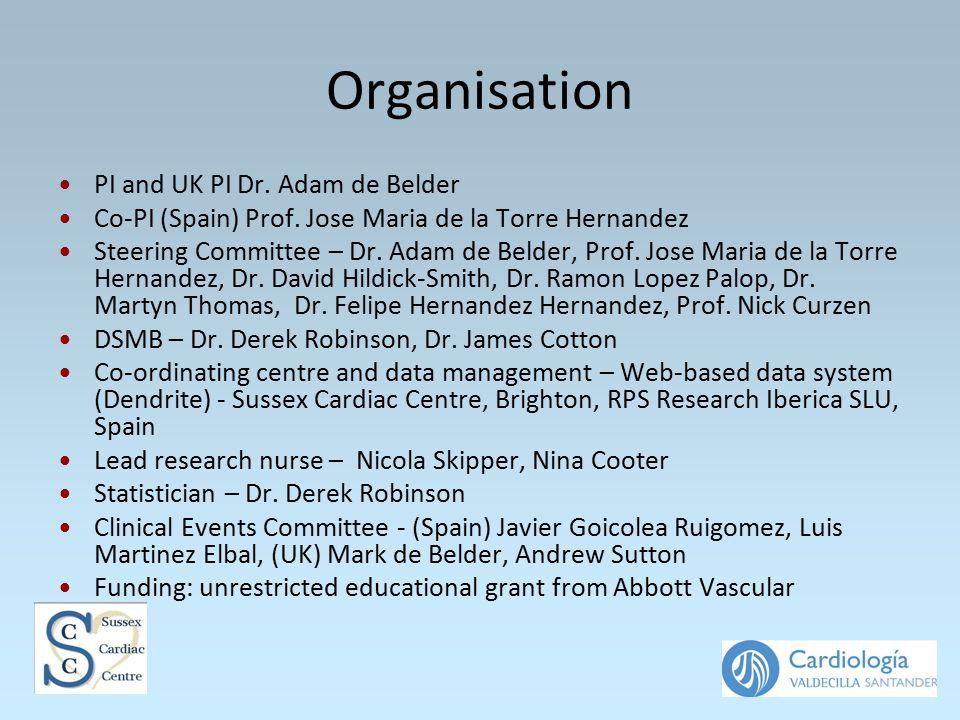 Organisation PI and UK PI Dr. Adam de Belder Co-PI (Spain) Prof. Jose Maria de la Torre Hernandez Steering Committee – Dr. Adam de Belder, Prof. Jose