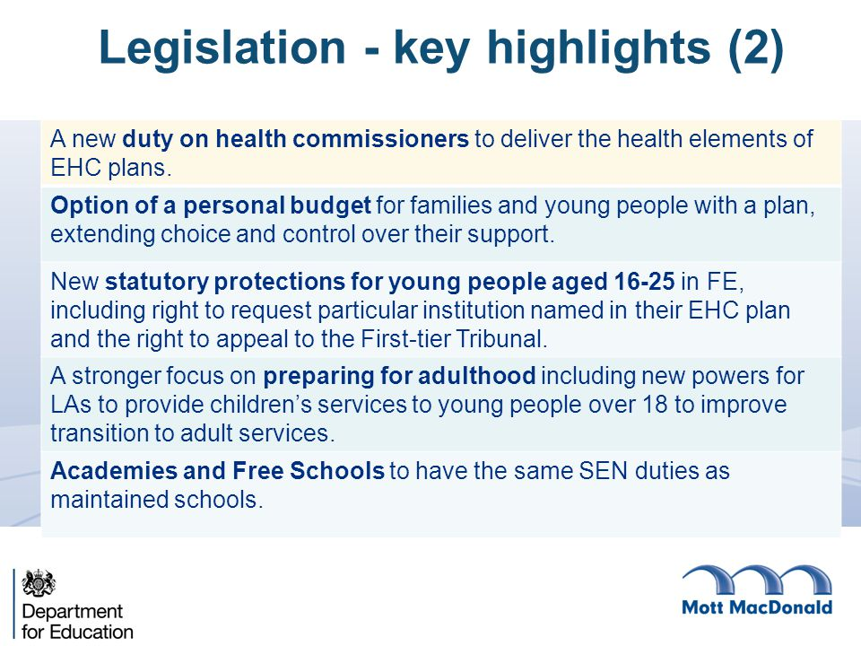 A new duty on health commissioners to deliver the health elements of EHC plans.