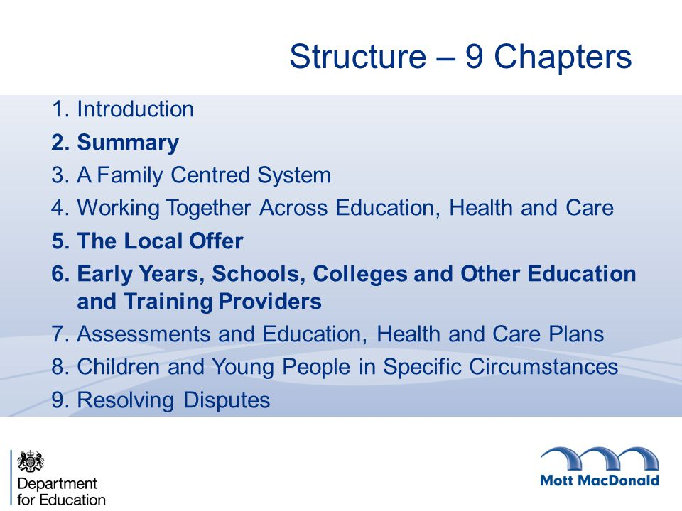Structure – 9 Chapters 1.Introduction 2.Summary 3.A Family Centred System 4.Working Together Across Education, Health and Care 5.The Local Offer 6.Ear