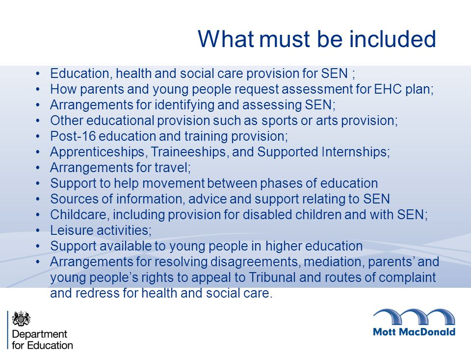 What must be included Education, health and social care provision for SEN ; How parents and young people request assessment for EHC plan; Arrangements for identifying and assessing SEN; Other educational provision such as sports or arts provision; Post-16 education and training provision; Apprenticeships, Traineeships, and Supported Internships; Arrangements for travel; Support to help movement between phases of education Sources of information, advice and support relating to SEN Childcare, including provision for disabled children and with SEN; Leisure activities; Support available to young people in higher education Arrangements for resolving disagreements, mediation, parents' and young people's rights to appeal to Tribunal and routes of complaint and redress for health and social care.