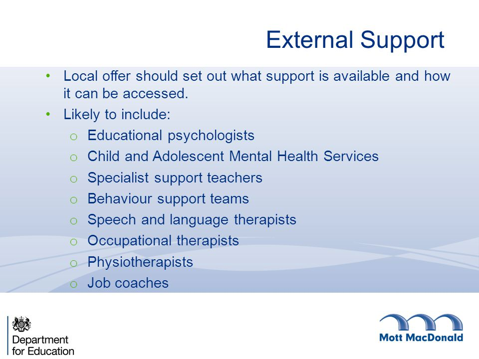 External Support Local offer should set out what support is available and how it can be accessed. Likely to include: o Educational psychologists o Chi