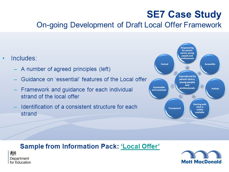 SE7 Case Study On-going Development of Draft Local Offer Framework Includes: –A number of agreed principles (left) –Guidance on 'essential' features o