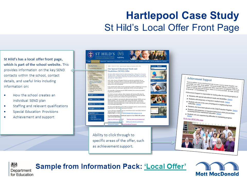 Hartlepool Case Study St Hild's Local Offer Front Page St Hild's has a local offer front page, which is part of the school website.