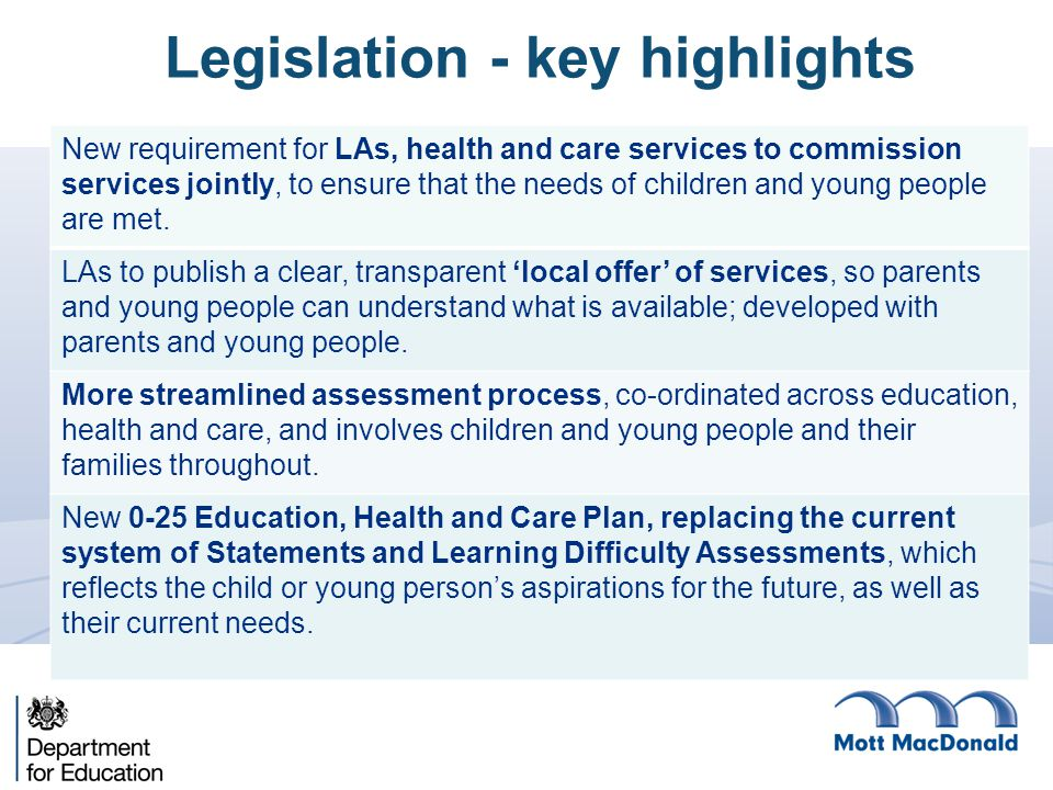 New requirement for LAs, health and care services to commission services jointly, to ensure that the needs of children and young people are met.