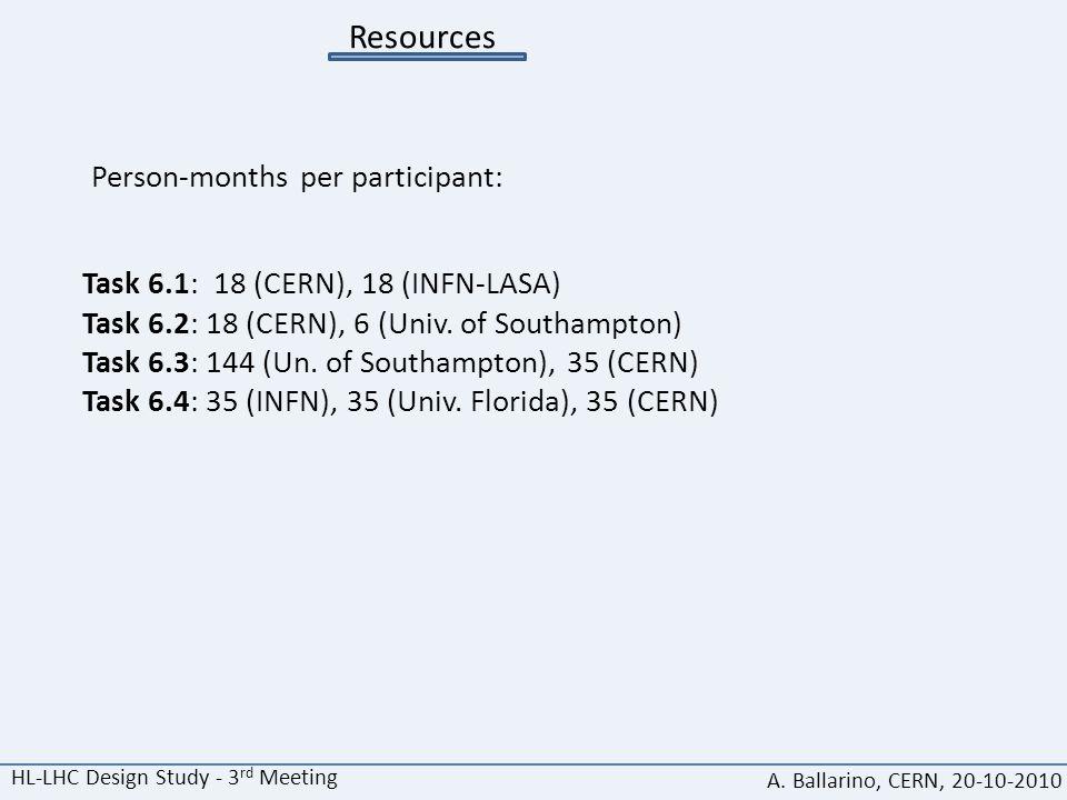 Resources Task 6.1: 18 (CERN), 18 (INFN-LASA) Task 6.2: 18 (CERN), 6 (Univ. of Southampton) Task 6.3: 144 (Un. of Southampton), 35 (CERN) Task 6.4: 35