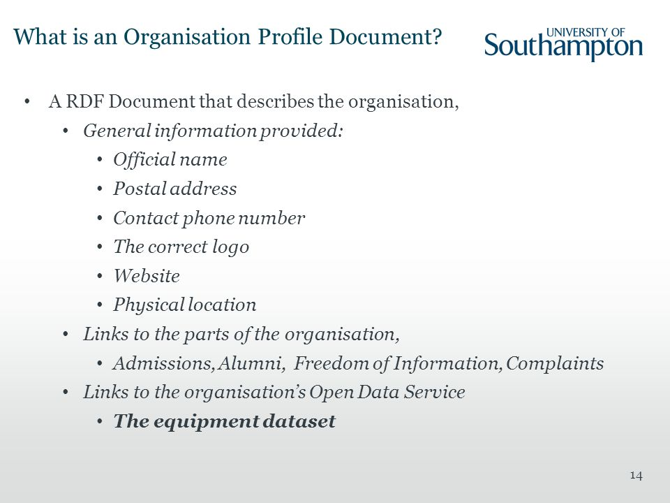 What is an Organisation Profile Document.