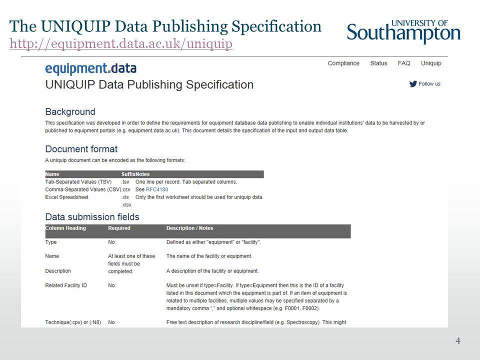 The UNIQUIP Data Publishing Specification http://equipment.data.ac.uk/uniquip http://equipment.data.ac.uk/uniquip 4