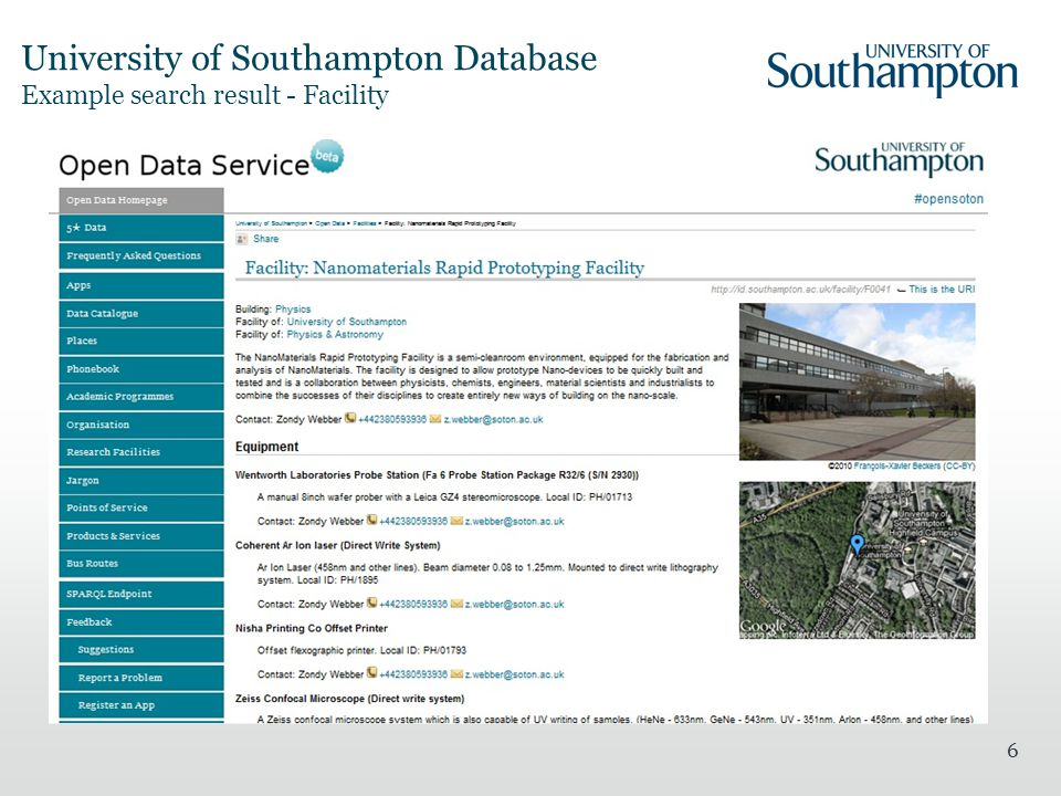 University of Southampton Database Example search result - Facility 6