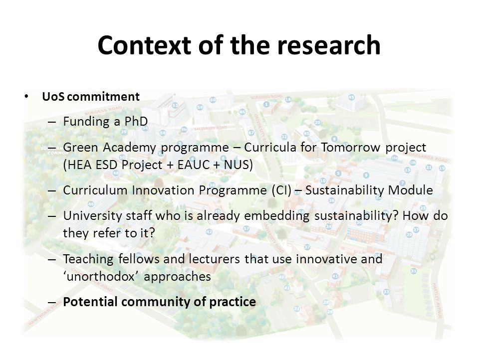 Context of the research UoS commitment – Funding a PhD – Green Academy programme – Curricula for Tomorrow project (HEA ESD Project + EAUC + NUS) – Curriculum Innovation Programme (CI) – Sustainability Module – University staff who is already embedding sustainability.