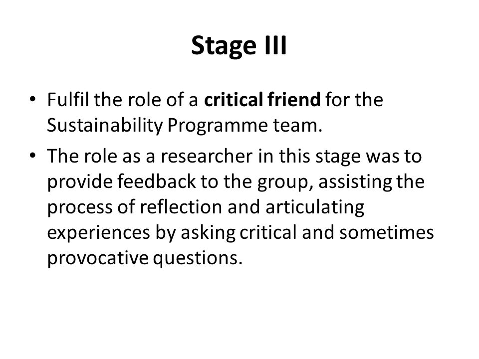 Stage III Fulfil the role of a critical friend for the Sustainability Programme team.