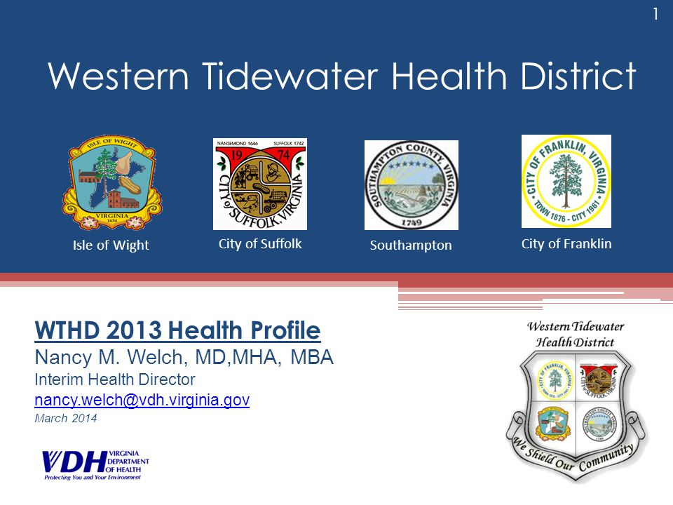 Western Tidewater Health District WTHD 2013 Health Profile Nancy M. Welch, MD,MHA, MBA Interim Health Director nancy.welch@vdh.virginia.gov March 2014