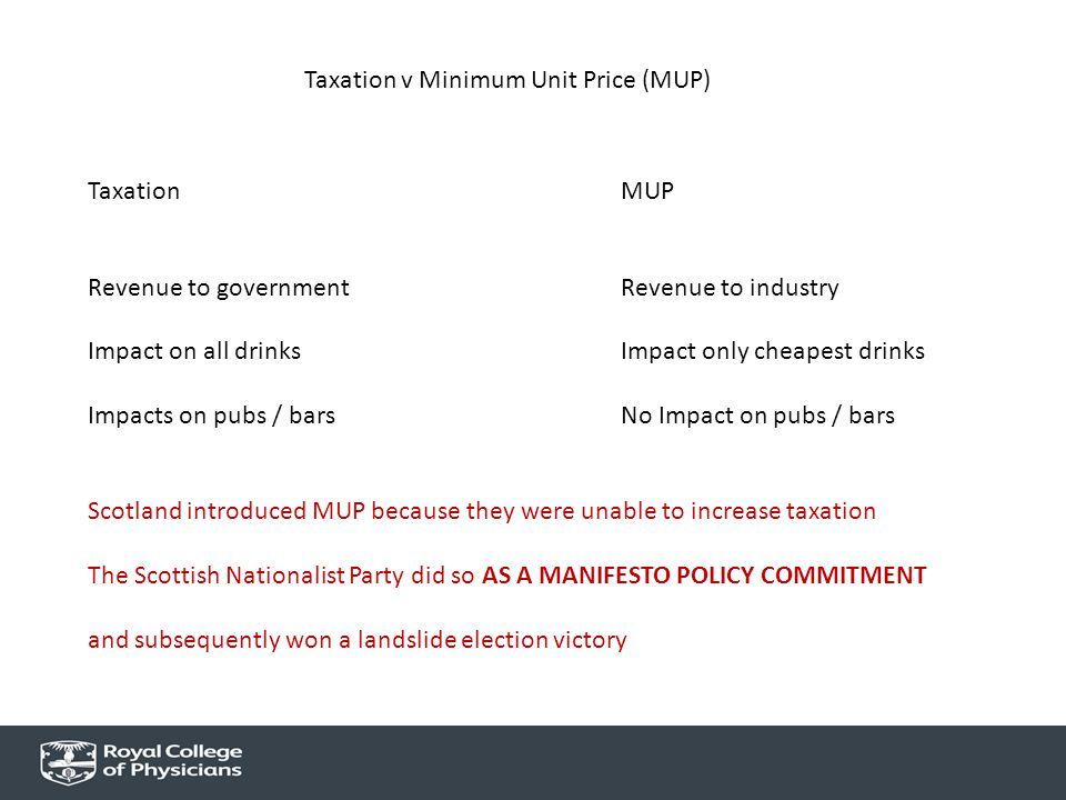 Taxation v Minimum Unit Price (MUP) TaxationMUP Revenue to governmentRevenue to industry Impact on all drinksImpact only cheapest drinks Impacts on pubs / bars No Impact on pubs / bars Scotland introduced MUP because they were unable to increase taxation The Scottish Nationalist Party did so AS A MANIFESTO POLICY COMMITMENT and subsequently won a landslide election victory