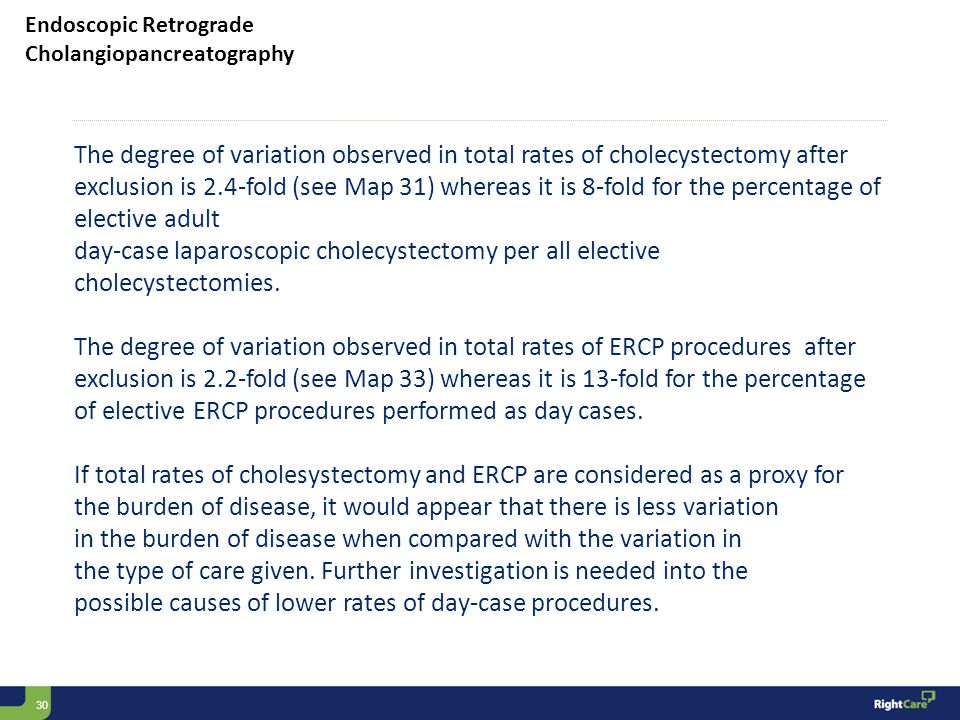 30 Endoscopic Retrograde Cholangiopancreatography The degree of variation observed in total rates of cholecystectomy after exclusion is 2.4-fold (see Map 31) whereas it is 8-fold for the percentage of elective adult day-case laparoscopic cholecystectomy per all elective cholecystectomies.