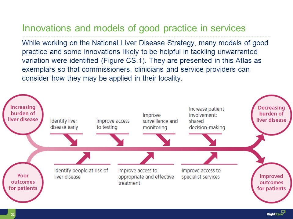 32 Innovations and models of good practice in services While working on the National Liver Disease Strategy, many models of good practice and some innovations likely to be helpful in tackling unwarranted variation were identified (Figure CS.1).