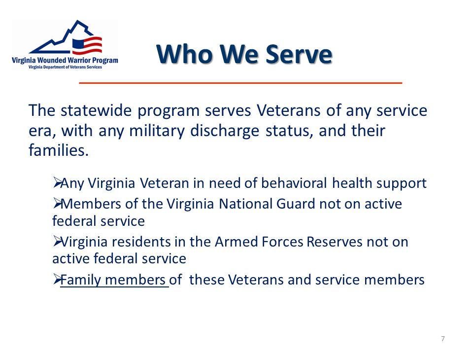 Addressing the Needs Addressing the Needs  Military Transition  Post combat  Post military  Invisible Wounds & Stress-related Injuries  Timely access to care & supportive services  Impact on the Family Unit  Education, support, and services 8
