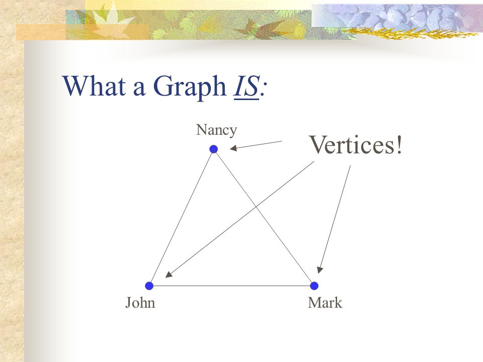 Nancy John Vertices! Mark What a Graph IS: