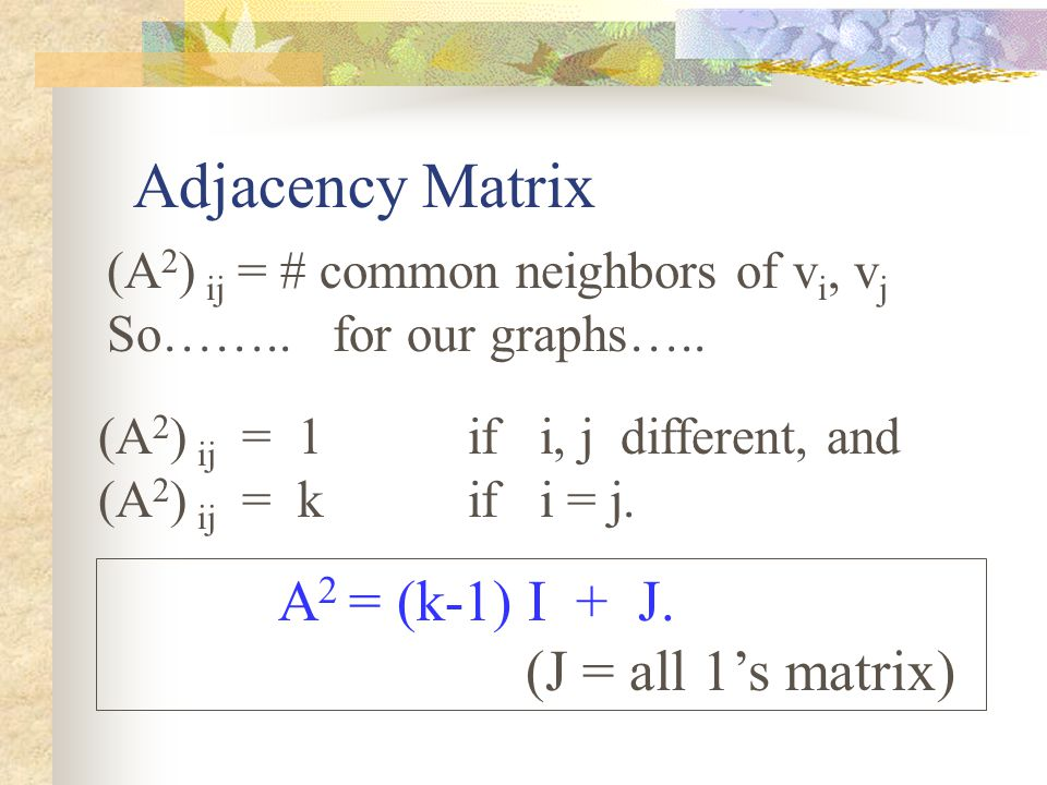 Adjacency Matrix (A 2 ) ij = # common neighbors of v i, v j So……..