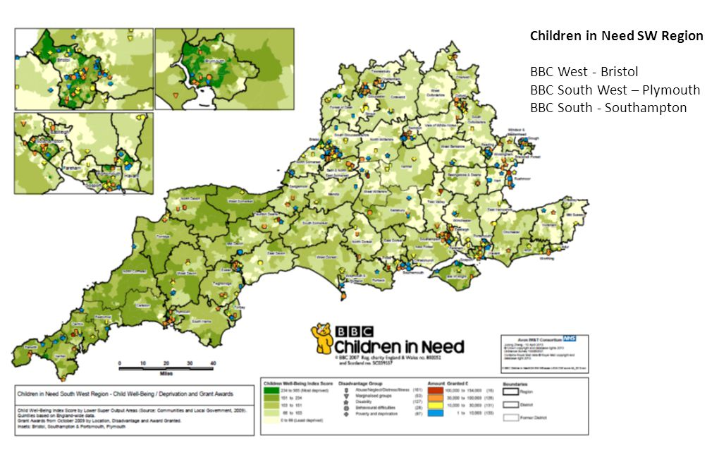 Children in Need SW Region BBC West - Bristol BBC South West – Plymouth BBC South - Southampton