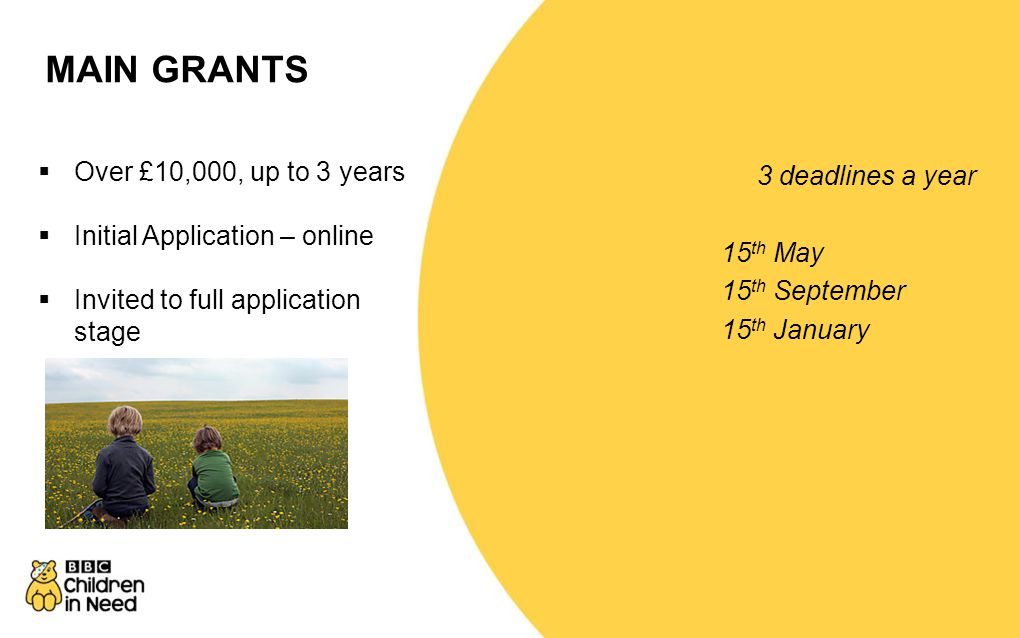 SMALL GRANTS 5 deadlines a year 1 st April 1 st June 1 st September 1 st December 1 st February  £10,000 or under for 1 year only  Online applicatio