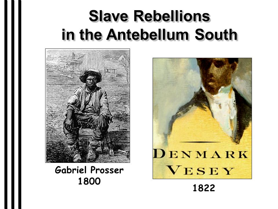 Slave Rebellions in the Antebellum South 1822 Gabriel Prosser 1800