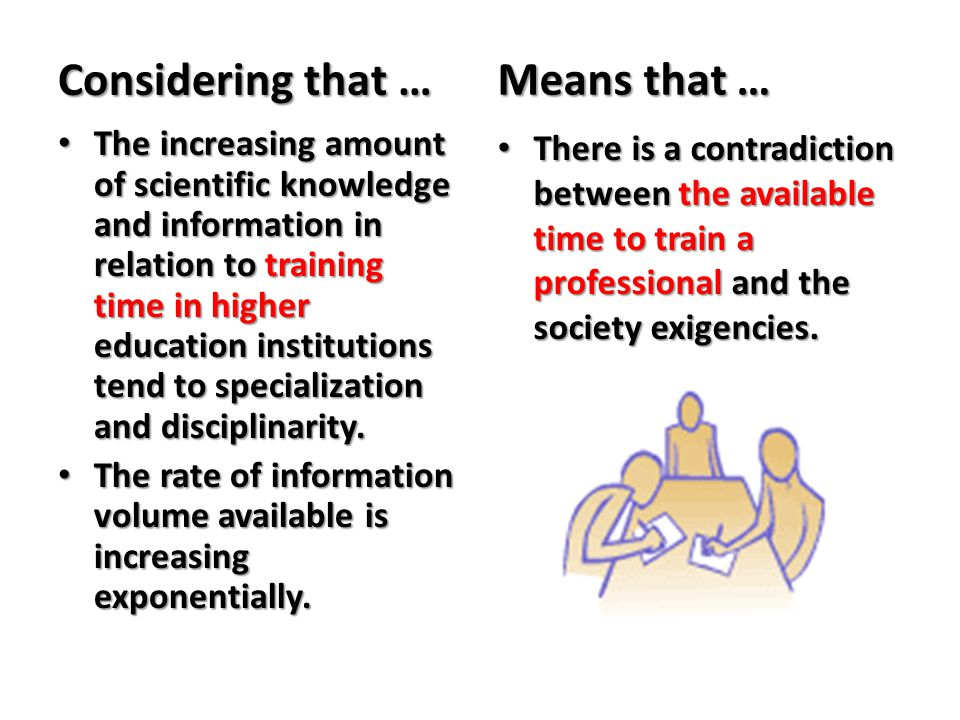 Considering that … The increasing amount of scientific knowledge and information in relation to training time in higher education institutions tend to