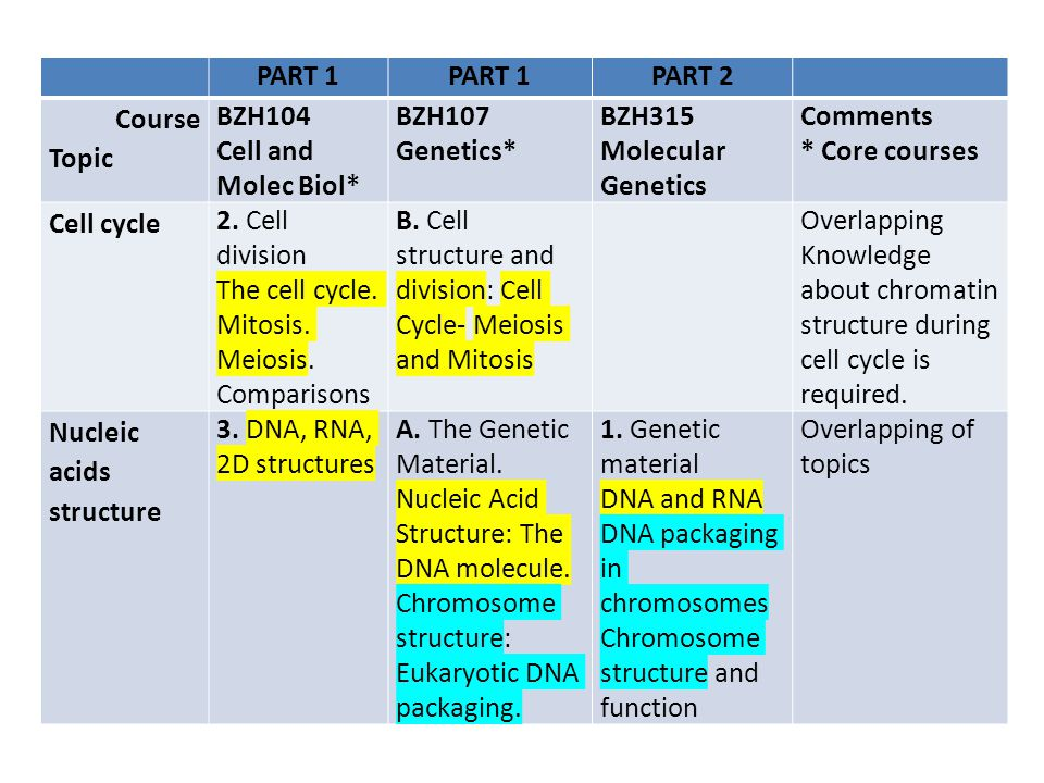 PART 1 PART 2 Course Topic BZH104 Cell and Molec Biol* BZH107 Genetics* BZH315 Molecular Genetics Comments * Core courses Cell cycle 2. Cell division